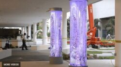 Bubble Wall Tube Columns Enclosed Water Features at Nicklaus Childrens Hospital Miami Florida