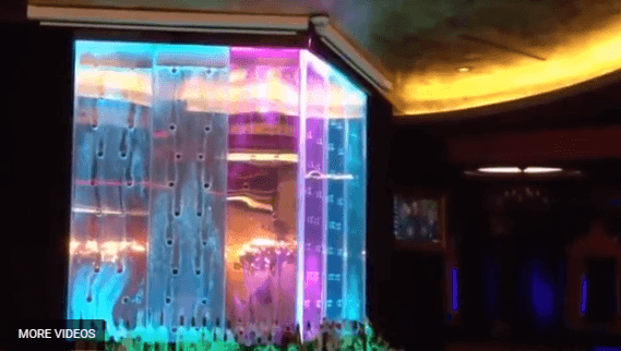 Bubble Walls Behind Bar at Houston Nightclub Bubble Panel Waterfall Feature