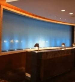 Custom Glass Water Walls Lobby Water Feature at Embassy Suites Houston TX