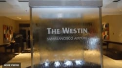 Custom Glass Water Walls at Westin Hotel at San Francicso Airport Water Walls with Etched Logo