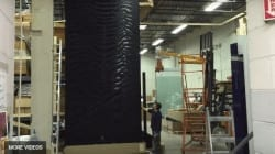 Custom Water Wall in Black Acrylic Granite Slate Huge Water Wall Over 20 High