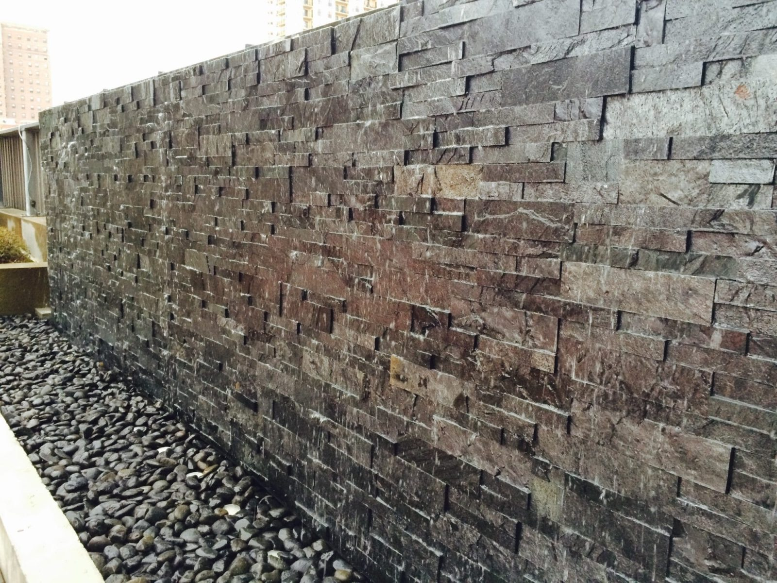 Tile Water Wall Waterfall Outdoor Rooftop Garden at 1401 S. State Chicago